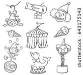 collection object circus doodle ... | Shutterstock .eps vector #643175143