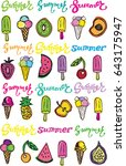 hand drawn doodle summer... | Shutterstock .eps vector #643175947