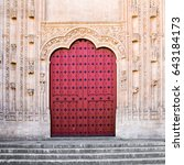 Old Wooden Red Door On The...