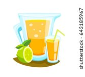 orange juice smoothie in a... | Shutterstock .eps vector #643185967