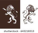 standing proud lion. royal...   Shutterstock .eps vector #643218313