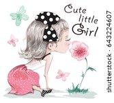 cute little girl sitting on the ... | Shutterstock .eps vector #643224607