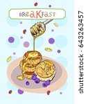 breakfast cover with sweet...   Shutterstock .eps vector #643263457