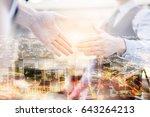 double exposure business... | Shutterstock . vector #643264213