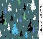 fir trees white  black and blue ... | Shutterstock .eps vector #643294783