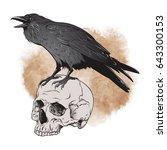 raven and skull on sepia... | Shutterstock .eps vector #643300153