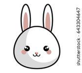 cute and tender rabbit kawaii... | Shutterstock .eps vector #643304647