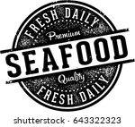 fresh seafood menu design stamp | Shutterstock .eps vector #643322323