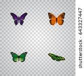 realistic green peacock ... | Shutterstock .eps vector #643327447