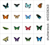 realistic birdwing  lexias ... | Shutterstock .eps vector #643328263