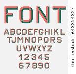 vector linear font. 80's retro... | Shutterstock .eps vector #643354327