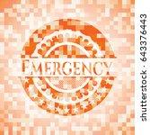 emergency orange mosaic emblem... | Shutterstock .eps vector #643376443