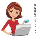 smiling woman buys on line... | Shutterstock .eps vector #643378057