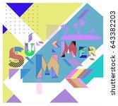 trendy vector summer cards... | Shutterstock .eps vector #643382203