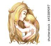 motherhood watercolor.... | Shutterstock . vector #643389097