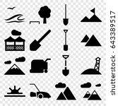 landscape icons set. set of 16... | Shutterstock .eps vector #643389517