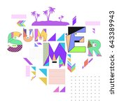trendy vector summer cards... | Shutterstock .eps vector #643389943