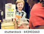 little boy showing lemonade... | Shutterstock . vector #643402663
