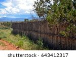 Rustic Wooden Fence Lined Away...