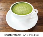 hot green tea matcha latte cup... | Shutterstock . vector #643448113