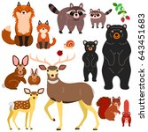 woodland animals parents and... | Shutterstock .eps vector #643451683