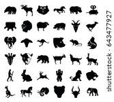 mammal icons set. set of 36...