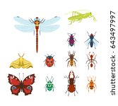 colorful insects icons isolated ... | Shutterstock .eps vector #643497997