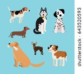 cartoon happy dogs set.... | Shutterstock . vector #643520593