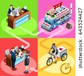 sushi take away japanese food...   Shutterstock .eps vector #643524427