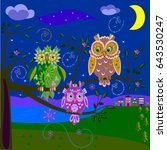 three magic owls sit on a tree... | Shutterstock .eps vector #643530247
