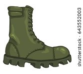 vector cartoon khaki army boots.... | Shutterstock .eps vector #643552003