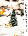 miniature christmas tree in the ... | Shutterstock . vector #643557583