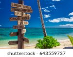 street sign on the beach... | Shutterstock . vector #643559737