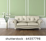 interior design of classic room in green and white colors with couch  and a vase of calla lily flowers, copy space on top half - stock photo