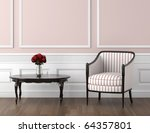 interior design of classic room in pale pink and white colors with chair table and roses, copy space on top half - stock photo