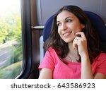 young beautiful woman looking... | Shutterstock . vector #643586923