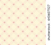 seamless pattern of pink heart... | Shutterstock .eps vector #643607527