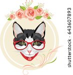 Stock vector decorative frame with pink roses and portrait of a funny cat with red glasses vector 643607893
