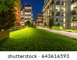 highline promenade and lawn at... | Shutterstock . vector #643616593