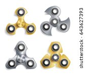 hand spinner toy set. spinning... | Shutterstock .eps vector #643627393