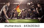 brutal soccer action on 3d... | Shutterstock . vector #643630363