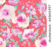 repeating watercolor flower... | Shutterstock . vector #643641997
