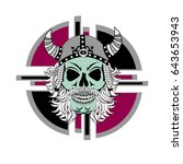 skull in the cap of the viking | Shutterstock .eps vector #643653943
