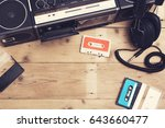 retro music hero header   Shutterstock . vector #643660477