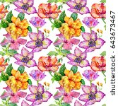 wildflower hibiscus flower...   Shutterstock . vector #643673467