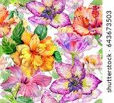 wildflower hibiscus flower...   Shutterstock . vector #643673503