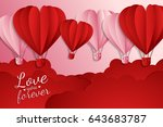 happy valentines day  paper cut ... | Shutterstock .eps vector #643683787