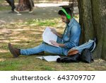 college student studying in... | Shutterstock . vector #643709707