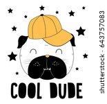 cool pug dog   illustration... | Shutterstock .eps vector #643757083