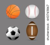 set of sports balls with gray... | Shutterstock .eps vector #643765867